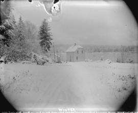 [Waterworks house at end of Pipeline Road in Stanley Park, covered in snow]