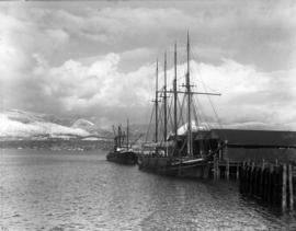 """Philippine"" lumber schooner and steamer ""Amur"" at Hastings Mill dock"