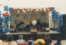 Presenters on the Chevron Stage at Playland for Tillicum's birthday party