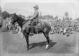 72nd Seaforths standing in formation, one man mounted