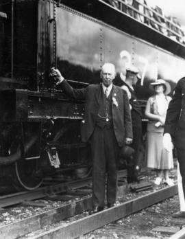W.H. Evans, engineer, first train, July 4th 1886, at Coquitlam, July 3rd 1936