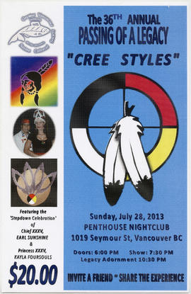 "The 36th annual passing of a legacy : ""Cree styles"" : Sunday, July 28, 2013 : Penthouse..."