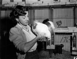 Woman holding award-winning rooster in 1955 P.N.E. Poultry and Pet Stock competition