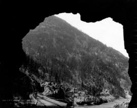 C.P.R. showing four tunnels, Fraser Canyon