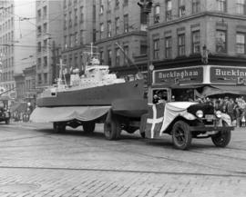 Battleship float in 1949 P.N.E. Opening Day Parade