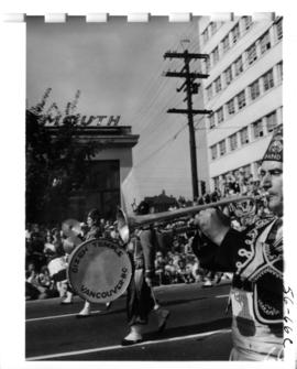 Gizeh Temple Shriners band marching in 1956 P.N.E. Opening Day Parade