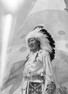 [Portrait of a Stoney Indian Chief at the Calgary Stampede]