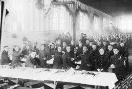 [Officers in training in mess hall at Hastings Park camp]