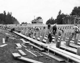 [Building bleachers at Brockton Point for Diamond Jubilee Celebrations]