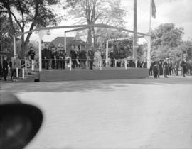 [King George VI and Queen Elizabeth on reviewing stand on Douglas Street]