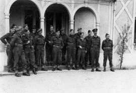 Officer group photo at Brigade Headquarters in an English country house