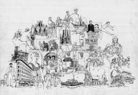 Historical moments of Vancouver drawing for Centennial brochure