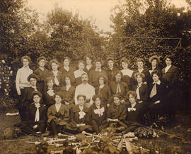 Group of women with male sports instructor, fencing and gymnastics equipment in frame