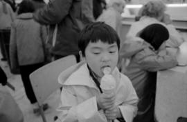 Boy enjoying ice cream cone