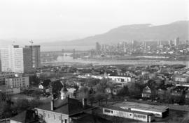 Downtown cityscape over Fairview and False Creek