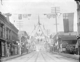 [Firemen's arch on Cordova Street, between Cambie and Abbott Streets, erected for visit of Duke a...