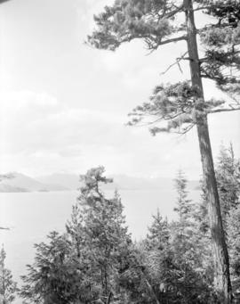 [View of Howe Sound from West Vancouver showing Hood Point on Bowen Island]