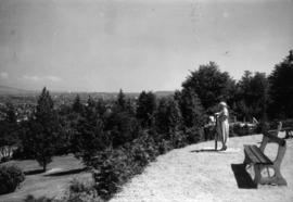 [Woman looking at the view from Queen Elizabeth Park]