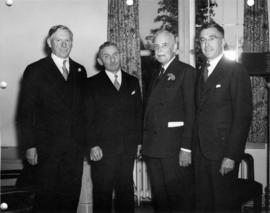 Prime Minister Louis St. Laurent and university officials