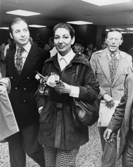 Maria Callas with Hugh Pickett in the background