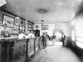 [Interior of a Steveston saloon and barbershop]