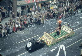 43rd Grey Cup Parade, on Granville Street British Columbia Telephone Company [BCTEL] float and sp...