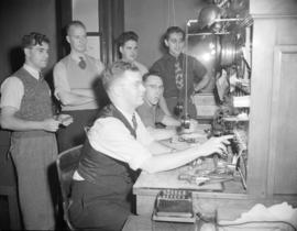 [B.C. Telephone personnel at work on the Bayview Cedar Exchange]