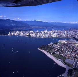 Aerial view of Vancouver :  looking north west showing shoreline and Kitsilano Beach