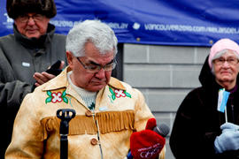 Day 48 Curve Lake's Chief speaks at their Flame Blessing in Ontario.