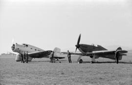 [A Hawker Hurricane and another airplane]