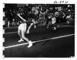 Baton twirlers in 1956 P.N.E. Opening Day parade