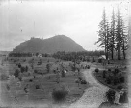 [People walking on paths in Agassiz Experimental Farm]