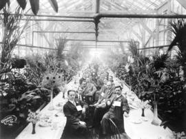 [Rotary Club luncheon in the Royal Nurseries and Floral Co. Ltd. greenhouse]