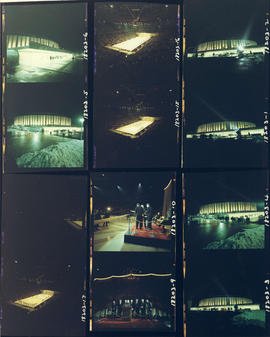 Opening ceremony for Pacific Coliseum, the Coliseum's illuminated exterior, and Ice Capades ...