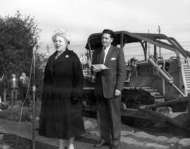 [Mrs. S.A. Cracknell and Mr. W. R. Russell at the sod -turning ceremony for the Kerrisdale Commun...