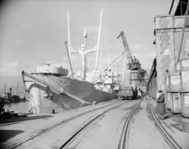C.N.R. freighter - loading supplies for Russia [at Ballantyne Pier]