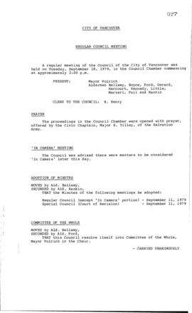 Council Meeting Minutes : Sept. 18, 1979