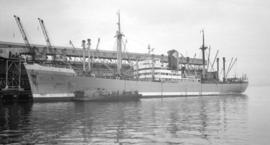 S.S. Kertosono [at dock, with barges alongside]