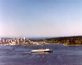 "Aerial view of CP car ferry, ""Princess of Vancouver"" with Stanley Park in background"