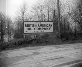 [Sign giving directions to the B.A. Oil Company]