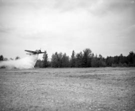 [Water bomber dropping water on a field in Abbotsford]