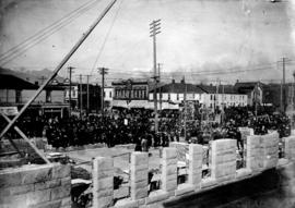 [Cornerstone ceremony at Vancouver Free (Carnegie) Library - S.W. corner of Westminster Avenue (M...