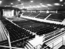 Interior of Garden Auditorium, prepared for stage show