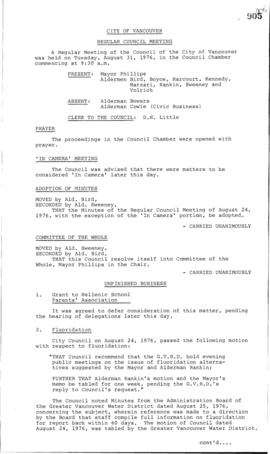 Council Meeting Minutes : Aug. 31, 1976
