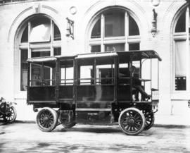[Electric storage battery operated truck outside B.C. Electric Railway Co. building on Carrall St...