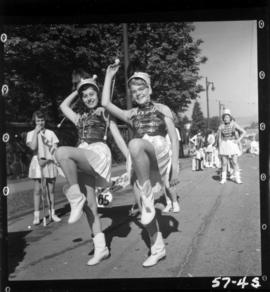 Majorettes in 1957 P.N.E. Opening Day Parade
