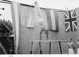 Acrobatic performance in midway carnival sideshow