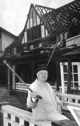 [A.P. Horne in front of the old Tennis Club House on 16th Avenue that is being demolished]