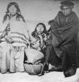 [Group portrait of three unidentified First Nations People]