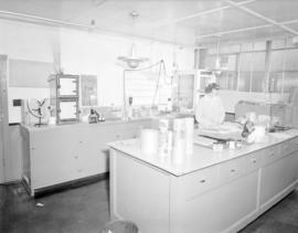 [Woman working in laboratory for] Pacific Mills